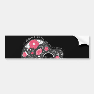 Awesome cool cute trendy girly flowers guitar bumper sticker