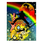 Awesome cool music dancer silhouette guitar planet postcard
