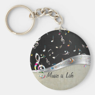 """Awesome cool """"Music is Life"""" colourful music notes Basic Round Button Key Ring"""