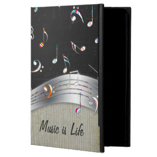 "Awesome cool ""Music is Life"" colourful music notes iPad Air Covers"