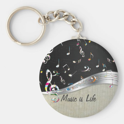 "Awesome cool ""Music is Life"" colourful music notes Key Chains"