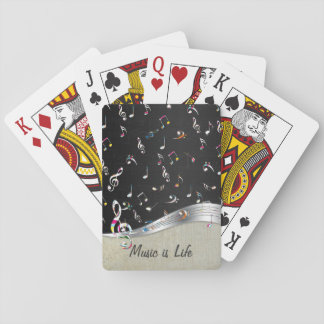 "Awesome cool ""Music is Life"" colourful music notes Playing Cards"