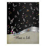 """Awesome cool """"Music is Life"""" colourful music notes Poster"""