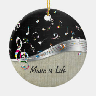 "Awesome cool ""Music is Life"" colourful music notes Round Ceramic Decoration"