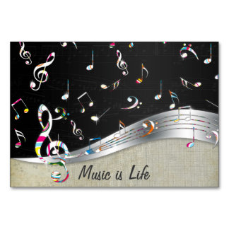 "Awesome cool ""Music is Life"" colourful music notes Table Card"