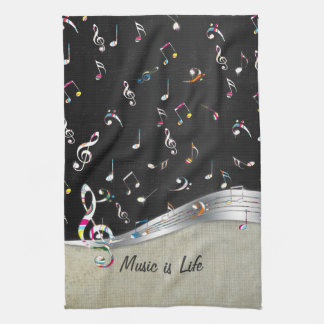 "Awesome cool ""Music is Life"" colourful music notes Tea Towel"