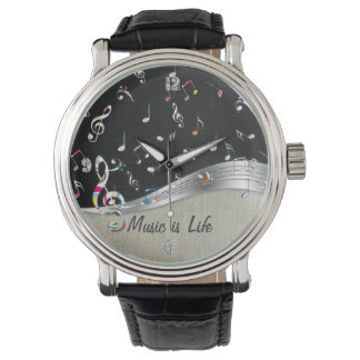 """Awesome cool """"Music is Life"""" colourful music notes Wristwatches"""