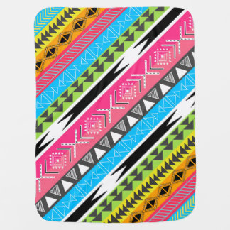 Awesome Cool trendy Aztec tribal Andes bright neon Baby Blanket