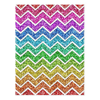Awesome cool trendy chevron zigzag pattern rainbow postcard