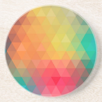 Awesome cool trendy colourful triangles pattern beverage coaster