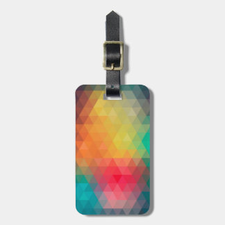 Awesome cool trendy colourful triangles pattern luggage tag