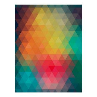 Awesome cool trendy colourful triangles pattern poster