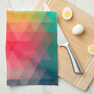 Awesome cool trendy colourful triangles pattern tea towel