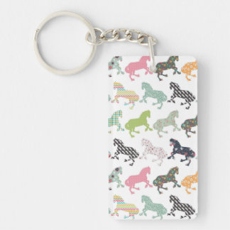 Awesome cool trendy horses pattern, vintage floral Double-Sided rectangular acrylic key ring