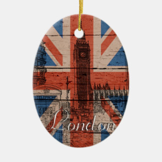 Awesome cool trendy old wood grunge U.k. flag Christmas Ornament