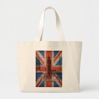 Awesome cool trendy old wood grunge U.k. flag Large Tote Bag