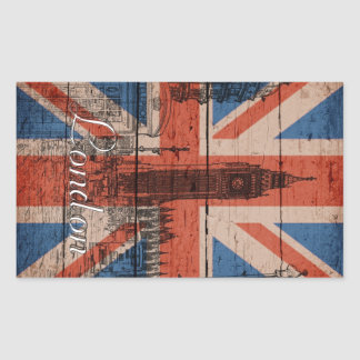 Awesome cool trendy old wood grunge U.k. flag Rectangular Sticker
