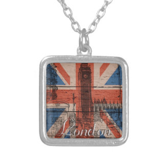 Awesome cool trendy old wood grunge U.k. flag Silver Plated Necklace