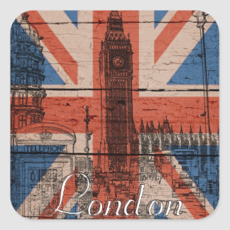Awesome cool trendy old wood grunge U.k. flag Square Sticker