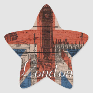 Awesome cool trendy old wood grunge U.k. flag Star Sticker
