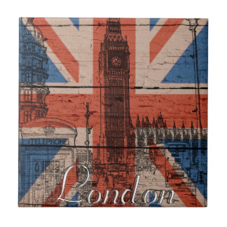 Awesome cool trendy old wood grunge U.k. flag Tile