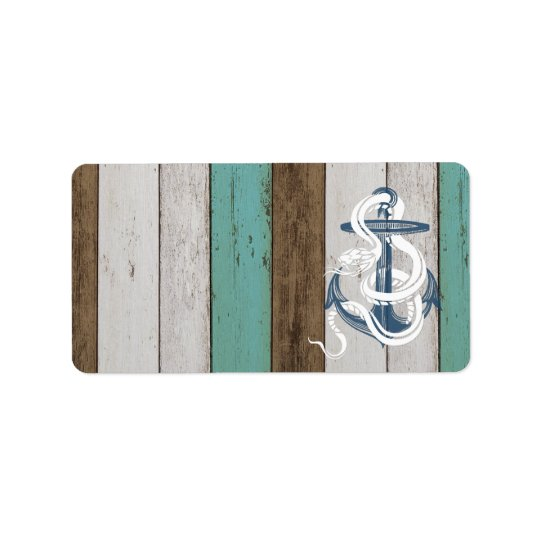 Awesome cool vintage blue anchor white snake address label