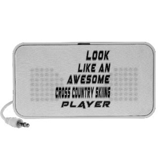 Awesome Cross Country Skiing Player Laptop Speaker