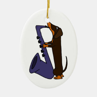 Awesome Dachshund Dog Playing Saxophone Christmas Ornament
