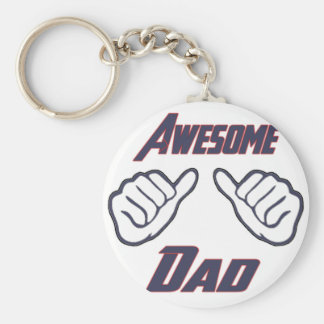 Awesome Dad Hands Pointing Fathers Day Papa Daddy Basic Round Button Key Ring