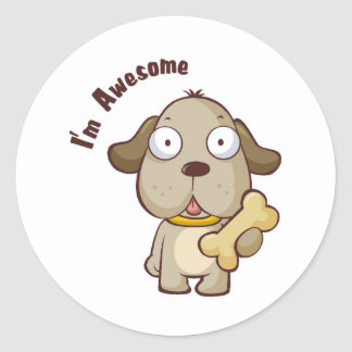 Awesome Dog Classic Round Sticker