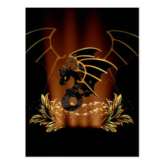Awesome dragon in gold and black postcard