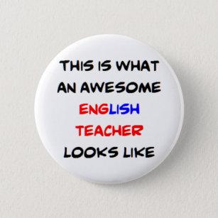 awesome english teacher 6 cm round badge
