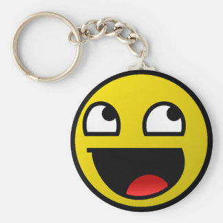 Awesome Face! Basic Round Button Key Ring