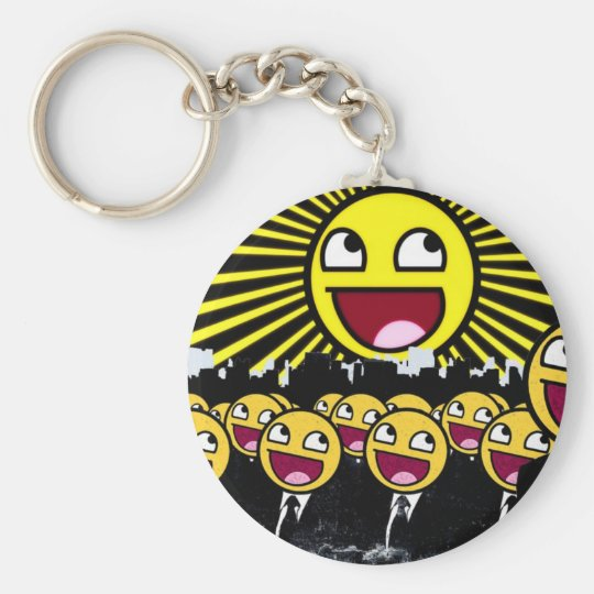 Awesome Face Basic Round Button Key Ring