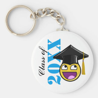 Awesome Face Meme With Graduation Hat Basic Round Button Key Ring