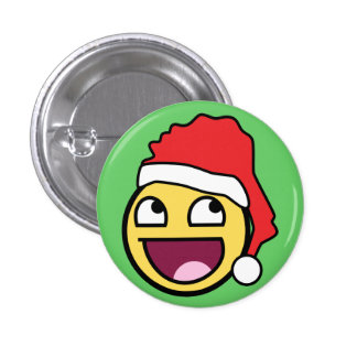 Awesome Face Santa Button