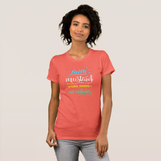 Awesome Faith Mustard Mountains T-Shirt Coral Colo