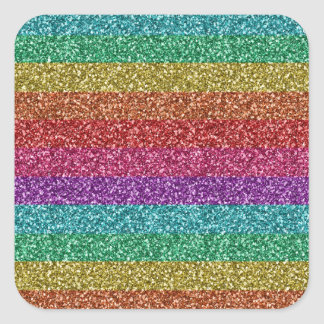 Awesome fashionable trendy rainbow bright colours square sticker