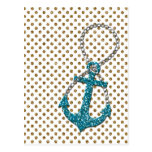 Awesome faux glitter peacock blue nautical anchor postcard
