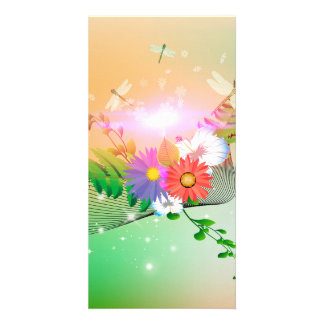 Awesome flowers and dragonflies personalized photo card