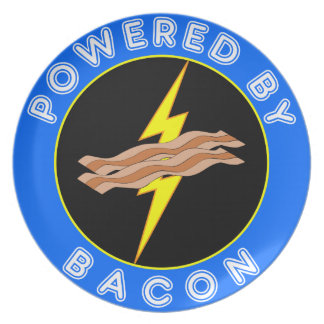 Awesome Geeky Powered By Bacon Lightning Plate