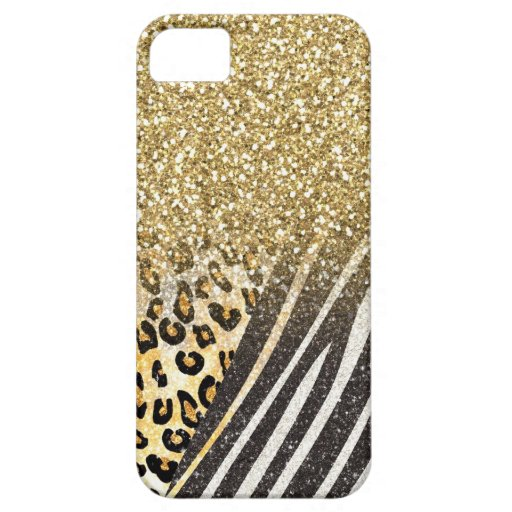 Awesome girly trendy gold leopard and zebra print iPhone 5 cover