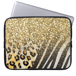 Awesome girly trendy gold leopard and zebra print laptop sleeve