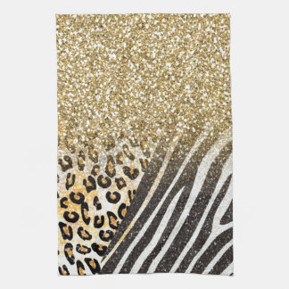 Awesome girly trendy gold leopard and zebra print tea towel