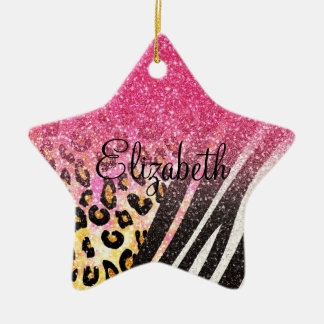 Awesome girly trendy leopard print, zebra stripes christmas ornament