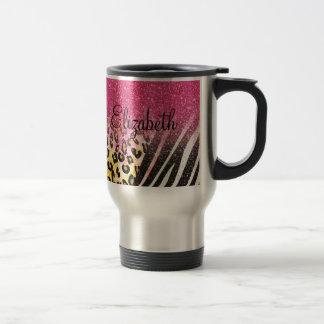 Awesome girly trendy leopard print, zebra stripes travel mug