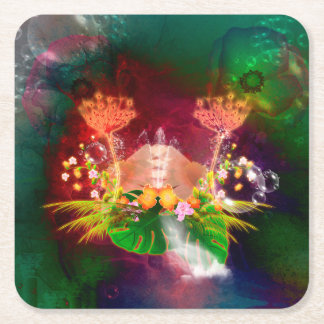 Awesome glowing flowers square paper coaster