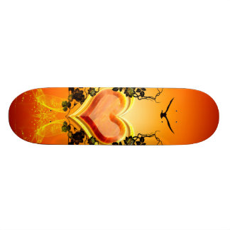 Awesome golden, red hearts skate deck