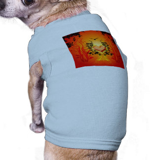 Awesome golden, red hearts with flowers sleeveless dog shirt