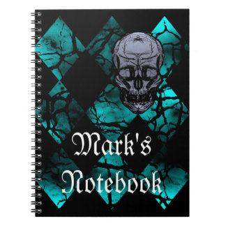 Awesome Gothic Skull and Diamond Pattern Notebook
